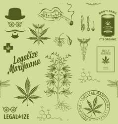 seamless pattern for a legalize cannabis vector image