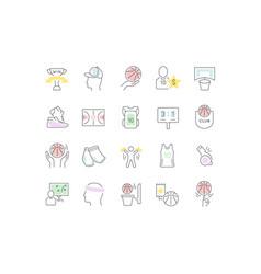 Set line icons basketball vector