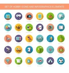 Set of modern flat design hobby icons vector