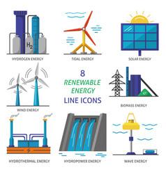 Set of renewable energy flat style icons vector
