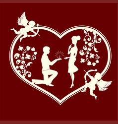 Silhouette of a heart with cupids and a loving vector