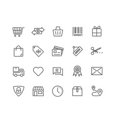 simple set shopping online thin line icons vector image
