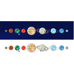 Solar system planets space universe galaxy vector