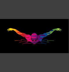 Swimming butterfly man swimming vector
