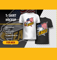 T-shirt mockup with eagle side head and flag vector