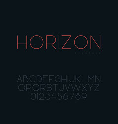 thin line uppercase font vector image