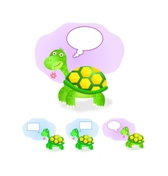 Thinking turtle icon set with chat box vector