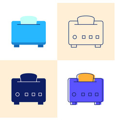 toaster with bread icon set in flat and line vector image