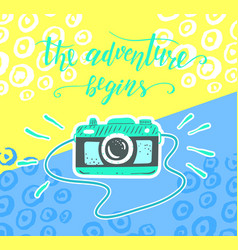 Travel inspiration quote and camera on the color vector