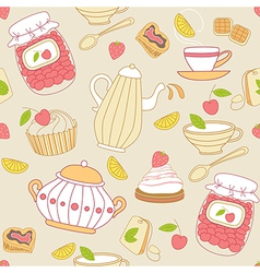 Vintage seamless pattern with tea vector image