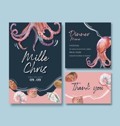 Wedding card watercolor design with octopus vector