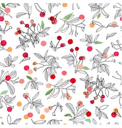 white christmas pattern with rose plant and buds vector image