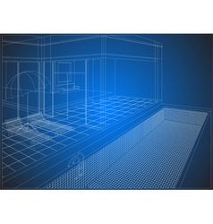 Wireframe home exterior vector