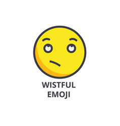Wistful emoji line icon sign vector