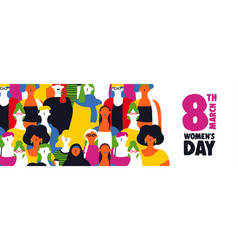 Womens day 8th march web banner of diverse girls vector