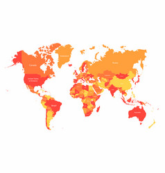 world map with countries borders abstract red vector image