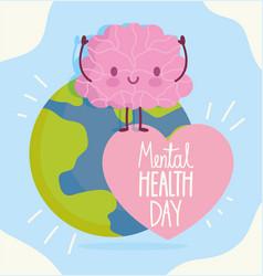 world mental health day cartoon brain planet text vector image