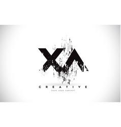 Xa x a grunge brush letter logo design in black vector