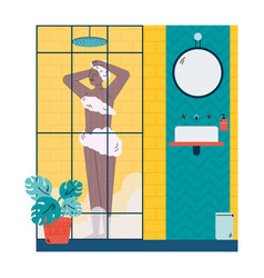 Young african woman standing in shower cabin flat vector