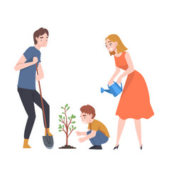 Young family with kid planting tree sapling and vector