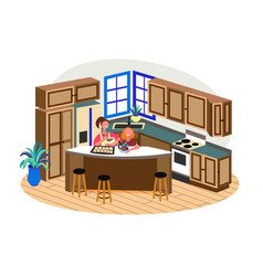 young woman cooking with little daughter at home vector image