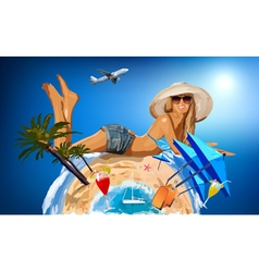 Young woman on sunny beach vector image