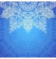 Blue ornate vintage wedding card background vector image