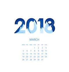 design template calendar 2018 vector image vector image