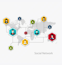 Flat icons for social media and network connection vector image