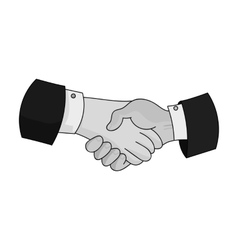 Handshake icon in monochrome style isolated on vector image vector image