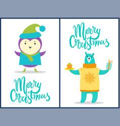 merry christmas animals set vector image