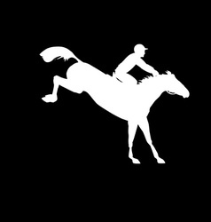 Racing horse and jockey silhouette vector image