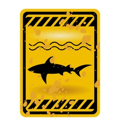 shark attack warning sign vector image vector image
