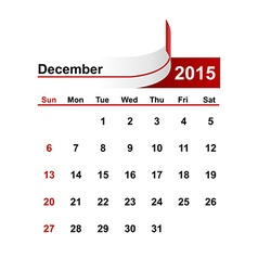 simple calendar 2015 year december month vector image vector image