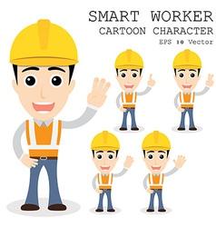 Smart worker cartoon character eps 10 vector image