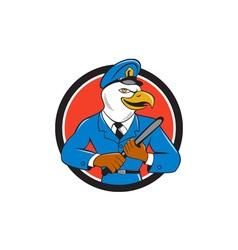 Bald eagle policeman baton circle cartoon vector