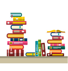 pile of books in library or bookstore flat design vector image