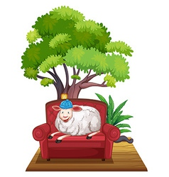 Sheep on sofa vector image vector image