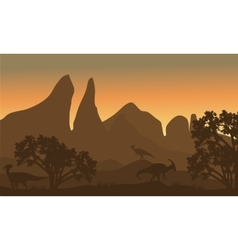 Silhouette of parasaurolophus in fields vector image vector image