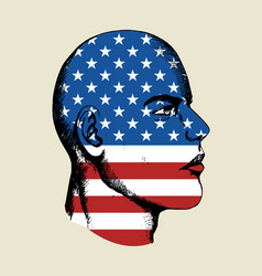sketch of a face with usa insignia vector image vector image