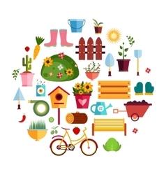 Spring Garden White flat icons Design vector image vector image