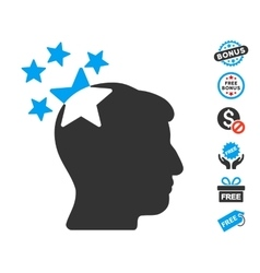 Stars Hit Head Icon With Free Bonus vector image vector image