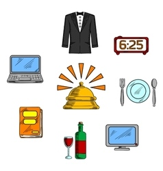 Travel and hotel luxury service icons vector image