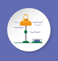 Wave energy station icon in flat style on round vector