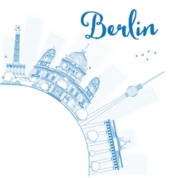 Berlin skyline with blue building vector image vector image