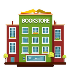 bookstore building flat design vector image vector image
