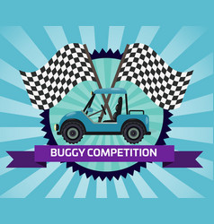 buggy rally competition banner with checkered flag vector image vector image