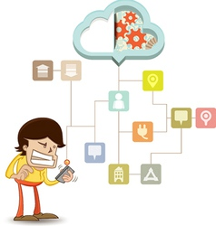Business man using a smart phone on a cloud vector image