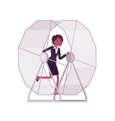 businesswoman in a running wheel vector image