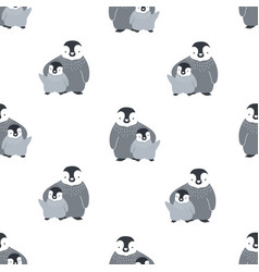 monochrome seamless pattern with cute pair of vector image